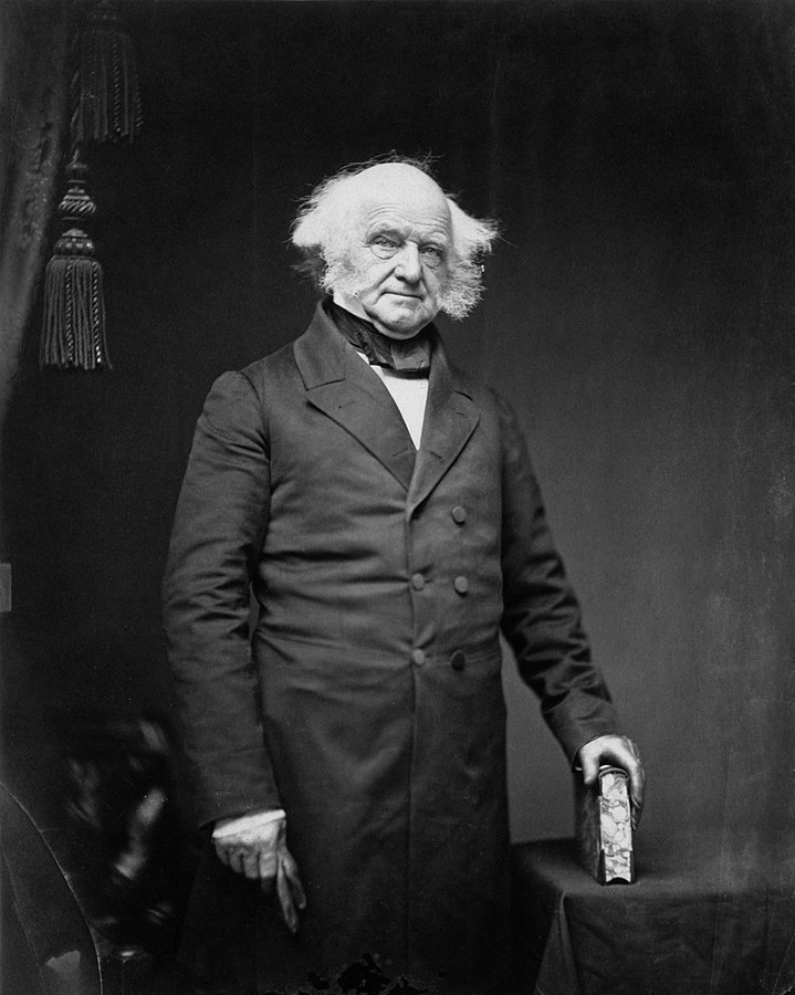 Former President Martin van Buren, circa 1855-1888. Matthew Brady photograph (Imperial print of Martin Van Buren. Salted paper print from glass negative. Provenance from W.H. Lowdermilk & Co., Rare Books, 1418 F Street, Washington, DC) Metropolitan Museum image, via Wikimedia