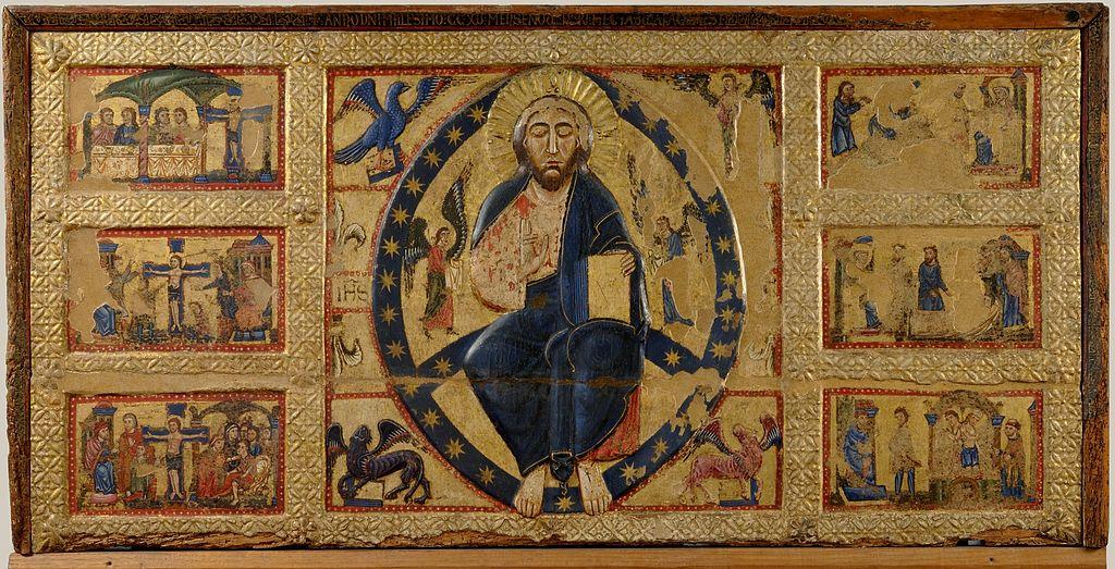 Maestro di Tressa, Paliotto del Salvatore, tempera, oro e legno, 98 cm x 198 cm, Pinacoteca nazionale di Siena