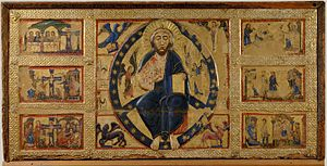 Master of Tressa The Saviour Blessing and Stories of the True Cross 1215 Siena Pinacoteca..jpg