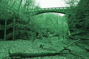 Matthiessen State Park - Autumn view of footbridge at Mattiessen State Park