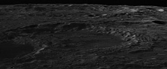 Maxwell (crater) - Oblique view from Apollo 14, facing northwest. Lomonosov is at left.