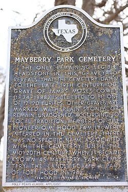 Mayberry park cemetery texas historic marker 3267