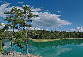Le lac méromictique McGinnis, dans le parc provincial Petroglyphs (Ontario).  (définition réelle 5761×4000)