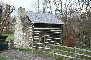 "Washington, Kentucky - Log cabin built from ""flat boat"" lumber"