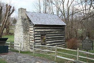 "Washington, Kentucky - Log cabin built from ""flat boat"" lumber"