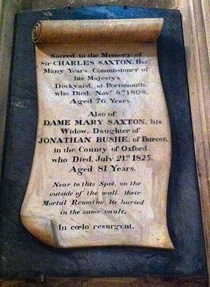 Sir Charles Saxton, 1st Baronet - Memorial to Charles Saxton in Gloucester Cathedral