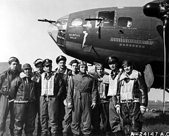 Memphis Belle (aircraft) - Crew of the Memphis Belle.They are, left to right: Tech. Sgt. Harold P. Loch of Green Bay, Wis., top turret gunner; Staff Sgt. Cecil H. Scott of Altoona, Penn., ball turret gunner; Tech. Sgt. Robert J, Hanson of Walla Walla, Wash., radio operator; Capt. James A. Verinis, New Haven, Conn., co-pilot; Capt. Robert K. Morgan of Ashville, N. C., pilot; Capt. Charles B. Leighton of Lansing, Mich., navigator; Staff Sgt. John P. Quinlan of Yonkers, N. Y., tail gunner; Staff Sgt. Casimer A. Nastal of Detroit, Mich., waist gunner; Capt. Vincent B. Evans of Henderson, Texas, bombardier and Staff Sgt. Clarence E. Winchell of Oak Park, Ill., waist gunner.