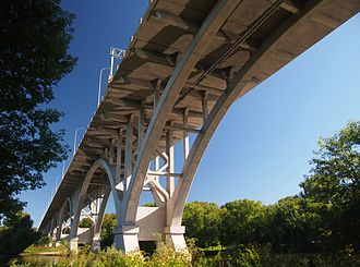 Mendota Bridge - Underside of the bridge showing detail of the arches, spandrels, and deck