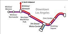 A map of the concurrencies in the Metro Rail system, primarily in Downtown LA.