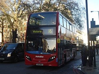 London Buses route 16 - Metroline Alexander Dennis Enviro400H in Victoria in December 2013
