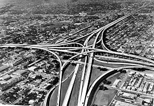 Transportation in South Florida - Aerial view from the 1960s of the Midtown Interchange, where I-95 meets I-395 and the Dolphin Expressway