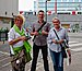 Michèle Loijens, Benoit Hellings, and Yolande Duviver compaigning for Ecolo on Rue des Tanneurs (Brussels) (DSCF0952).jpg