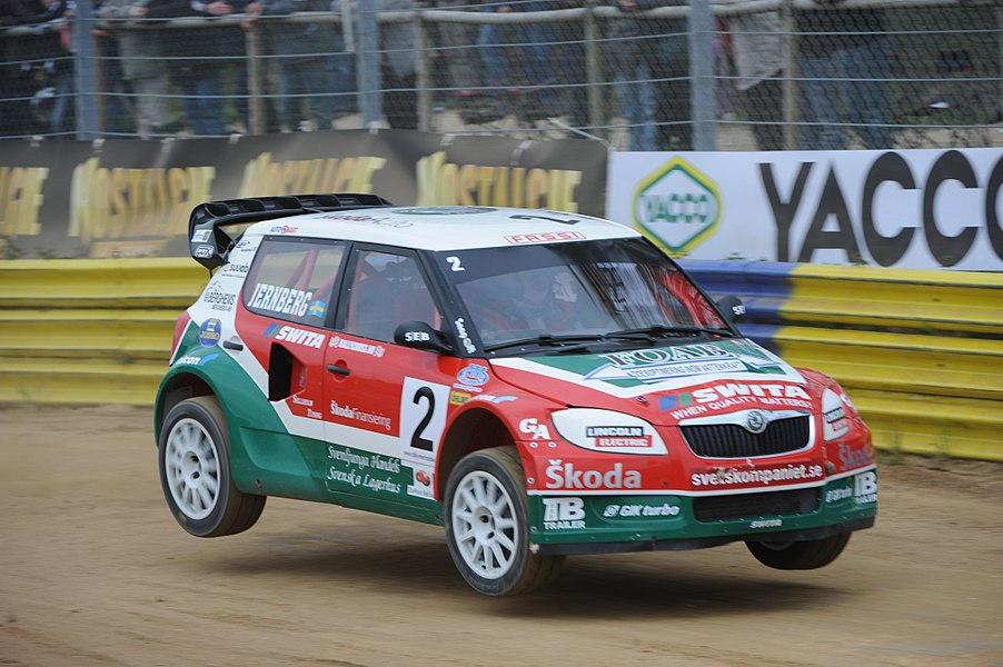 Swedish rallycross driver Michael Jernberg in his Škoda Fabia II Division 1 car. Round 2 of the 2010 FIA European Rallycross Championship at Circuit de Kerlabo, France