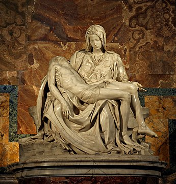 Michelangelo's 1498-99 Pieta in St. Peter's Basilica; the Catholic Church was among the patronages of the Renaissance Michelangelo's Pieta 5450 cropncleaned edit.jpg