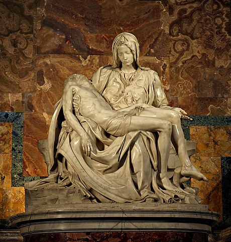 Michelangelo's Pietà in St. Peter's Basilica, The Catholic Church was among the patronages of the Renaissance. Michelangelo's Pieta 5450 cropncleaned edit.jpg