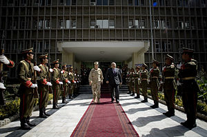 Abdul Rahim Wardak - Wardak escorting Mike Mullen, Chairman of the Joint Chiefs of Staff, following their October 2007 meeting in Kabul, Afghanistan.