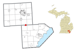 Location within Monroe County (bottom) and Washtenaw County (top)