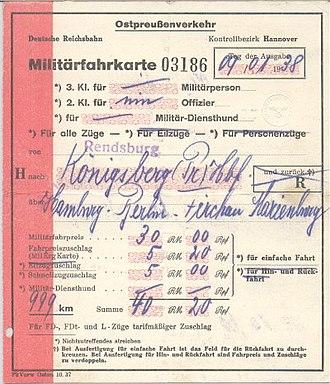 Deutsche Reichsbahn - 1938 military ticket from Rendsburg to Königsberg (Pr.)