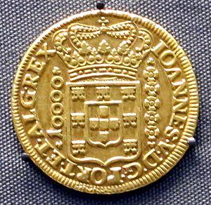 Brazilian Gold - Portuguese colonial Brazil gold coin from the southeastern Brazilian state of Minas Gerais