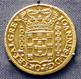 History of Brazil - Portuguese colonial Brazil gold coin from the southeastern Brazilian state of Minas Gerais.