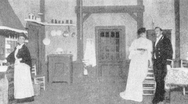 First Stockholm production of Strindberg's 1888 naturalistic play Miss Julie, staged at The People's Theatre in November 1906. Sacha Sjostrom (left) as Kristin, Manda Bjorling as Miss Julie, and August Falck as Jean. MissJulie1906.jpg