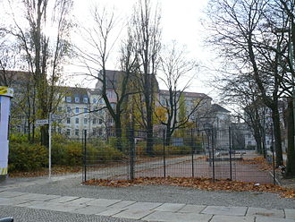 Ackerstraße - Pappelplatz, the square at the bend in the Ackerstraße