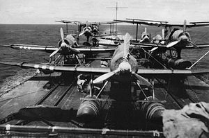 Japanese cruiser Mogami (1934) - Japanese planes onboard Mogami's newly installed flight deck.