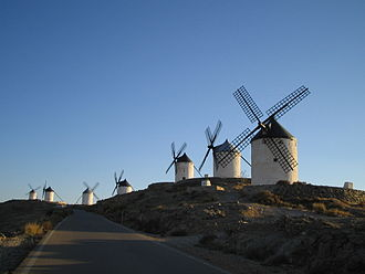 Castilla-La Mancha - Group of old windmills at Consuegra in Castilla-La Mancha.