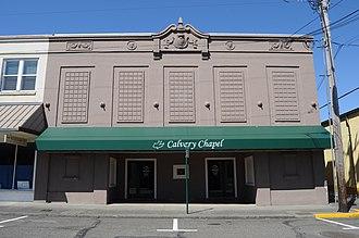 Calvary Chapel - A Calvary Chapel, housed in the former Montesano Theatre, Montesano, Washington