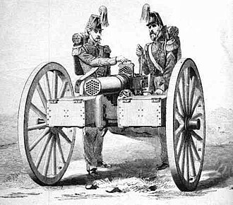 Mitrailleuse - The 37-barrel Montigny mitrailleuse, which was developed in 1863.