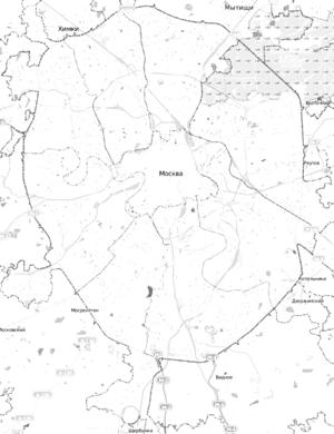 Mezhdunarodnaya (Moscow Metro) - Image: Moscow map MKAD grayscale