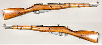 Pistol grip - Straight or English stock (non-pistol grip) on a Soviet M38 Mosin–Nagant carbine.