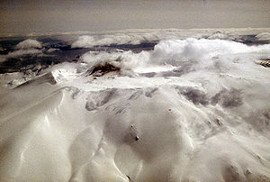 Mount Akutan - Aerial view of Akutan volcano that forms the west part of Akutan Island