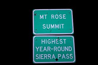 Nevada State Route 431 - Sign at the Mount Rose Summit