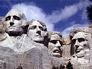 Mount Rushmore, a massive sculpture of four prominent American presidents