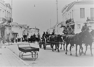 Battle of Greece - An Italian column passing through Patras, western Greece in May 1941.