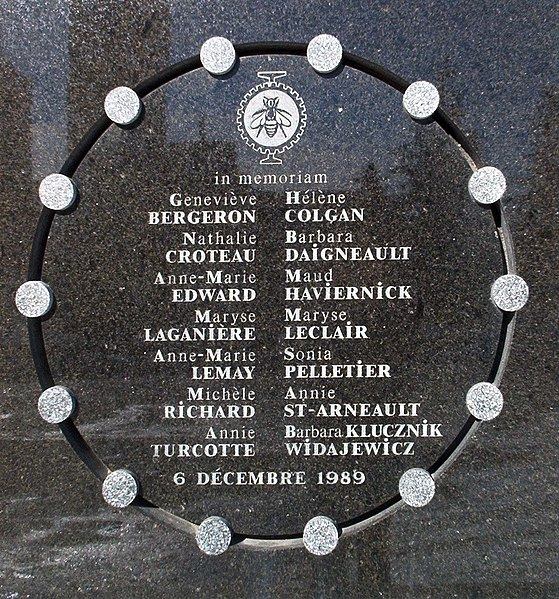Memorial plaque commemorating the 14 murdered women: Geneviève Bergeron, Hélène Colgan, Nathalie Croteau, barbara Daigneault, Anne-Marie Edward, Maud Haviernick, Maryse Laganière, Maryse Leclair, Anne-Marie Lemay, Sonia Pelletier, Michèle Richard, Annie St-Arneault, Annie Turcotte, and Barbara Klucznik Widajewicz.