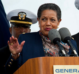 Myrlie Evers-Williams - Evers-Williams delivering remarks during the christening ceremony for US Navy ship ''Medgar Evers'', 2011.