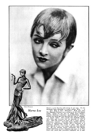 Myrna Loy - In its September 1925 issue, Motion Picture magazine featured two Henry Waxman photographs of Loy, costumed by Adrian, as she appeared in What Price Beauty?