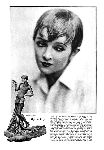 In its September 1925 issue, Motion Picture magazine featured two Henry Waxman photographs of Loy, costumed by Adrian, as she appeared in What Price Beauty?