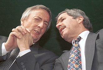2005 Argentine legislative election - President Néstor Kirchner (left) confers with Buenos Aires Province Governor Felipe Solá. Their opposition to powerbroker Eduardo Duhalde dominated the 2005 races.
