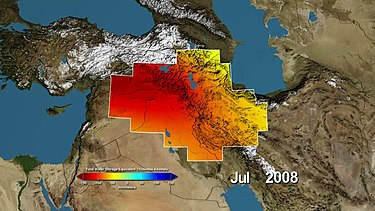 Estimates of changes in water storage around the Tigris and Euphrates Rivers, measured by NASA's GRACE satellites. The satellites measure tiny changes in gravitational acceleration, which can then be processed to reveal movement of water due to changes in its total mass. NASA's GRACE Sees Major Water Losses in Middle East.jpg