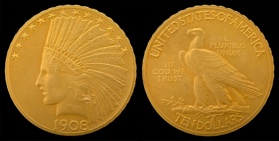 "Indian Head eagle, revised design of 1908 adding ""  IN GOD WE TRUST  "" motto to reverse"