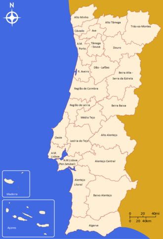 NUTS statistical regions of Portugal - Territorial map corresponding to the 23 statistical subregions of mainland Portugal (NUTS III) and the 2 autonomous regions of Madeira and Azores