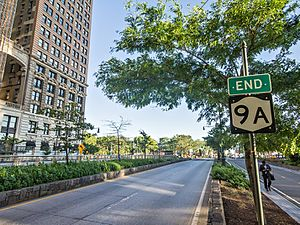 New York State Route 9A - NY State Route 9A End sign in Battery Park City.