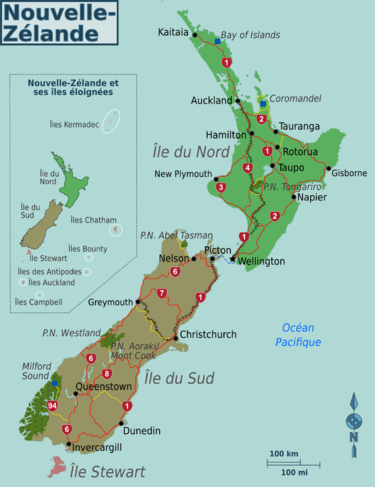 Nouvelle Zelande Carte Villes