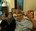 Nabeel Rajab with his mother after the first attack on his house on 18 April.jpg