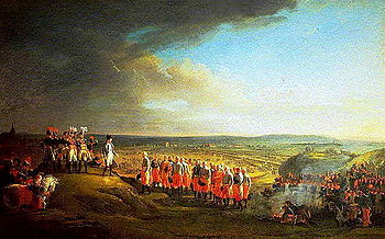 Colored painting showing Napoleon receiving the surrender of General Mack, with the city of Ulm in the background.