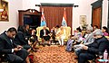 Narendra Modi meeting the Prime Minister of Fiji, Mr. Frank Bainimarama, in Jaipur on August 21, 2015. The Union Minister for External Affairs and Overseas Indian Affairs, Smt. Sushma Swaraj is also seen.jpg