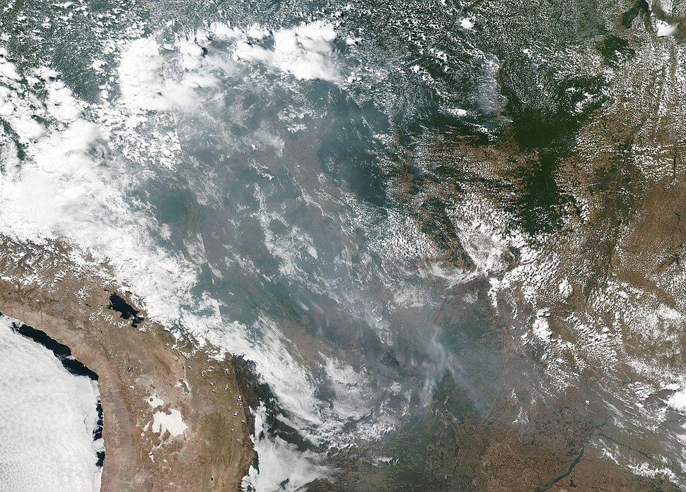NASA:n ottama ilmakuva metsäpaloista 20. elokuuta 2019